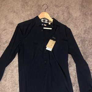 Burberry dress shirt size small navy blue